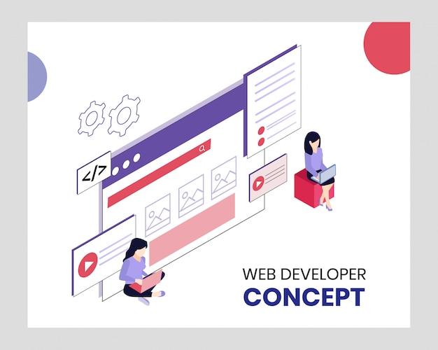 Isometrisch web developer concept