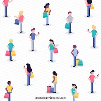Isometrisch winkelconcept met mensen