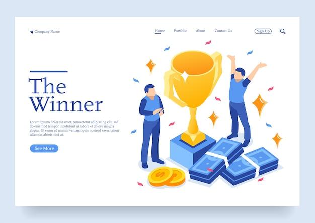 Isometrisch winnaarsbedrijf en prestatieconcept zakelijk succes grote trofee voor zakenlieden