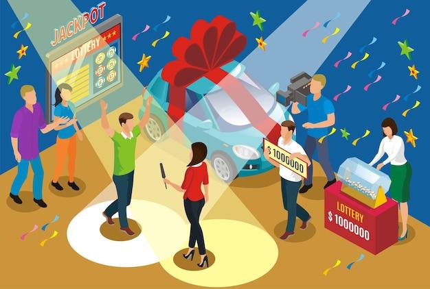 Isometrisch winnend loterijconcept met verslaggeversauto als prijs en jackpot gelukkige winnaar onder schijnwerpers