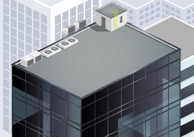 Isometrisch wolkenkrabber dak
