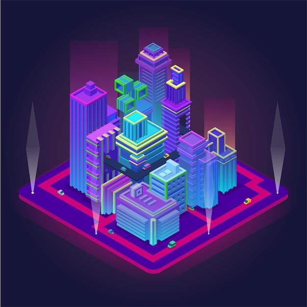 Isometrisch zakencentrum met wolkenkrabbers. futuristische metropool met transportinfrastructuur vectorillustratie. slimme stadsinnovatie in neonkleuren. perspectief engineering en technologie