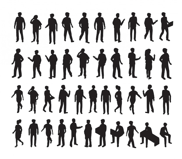 Isometrische 3d-afbeelding instellen silhouetten van mensen