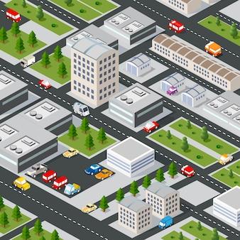 Isometrische 3d-afbeelding van het stadsdeel met huizen
