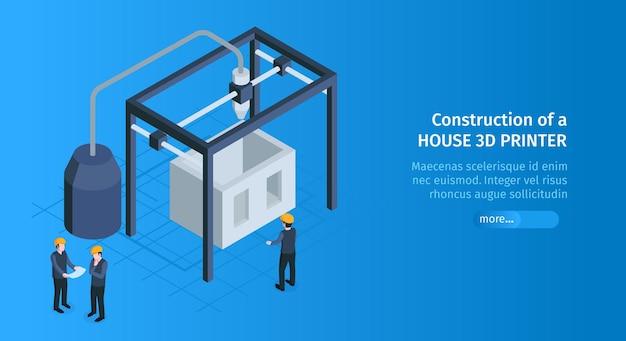 Isometrische 3d-afdrukken horizontale banner met tekst van de schuifknop en bouwkooi met illustratie van 3d-printertoestellen