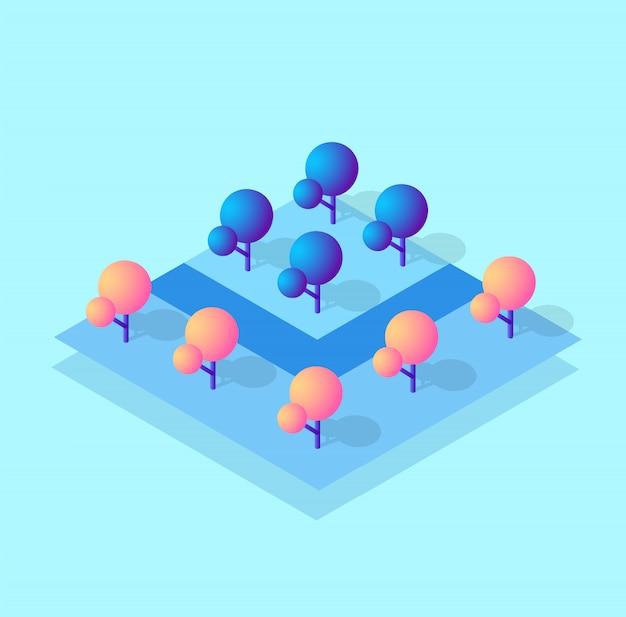 Isometrische 3d-blokmodule van het districtsdeel