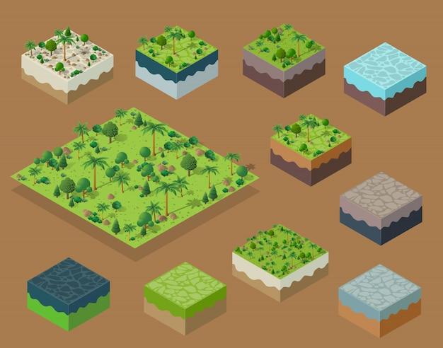 Isometrische 3d bomen bos natuurelementen instellen