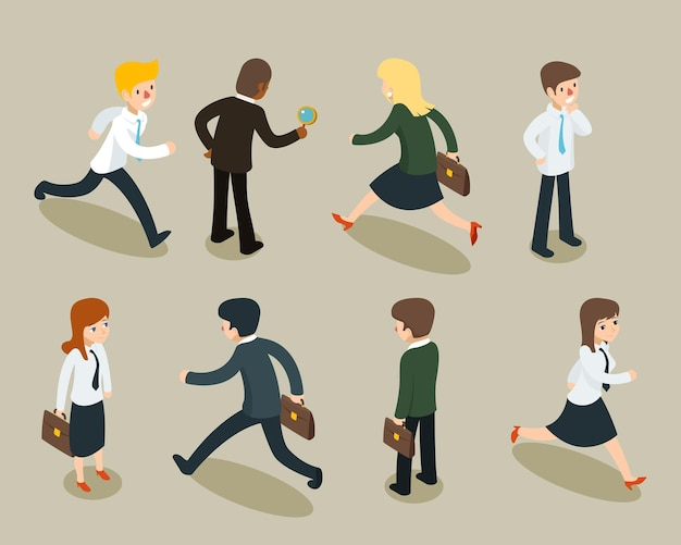 Isometrische 3d-cartoon van zakenlieden en zakenvrouwen in vintage stijl.