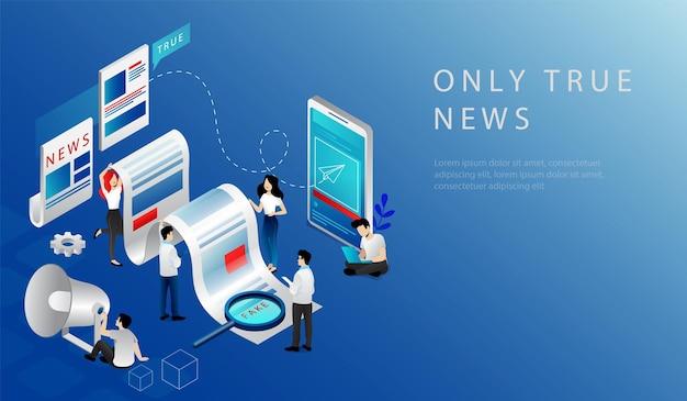 Isometrische 3d-concept van het laatste nieuws breken. website bestemmingspagina. nieuwsupdate, online nieuws. mensen die echt nieuws publiceren op basis van informatie van verslaggevers. webpagina cartoon vectorillustratie.