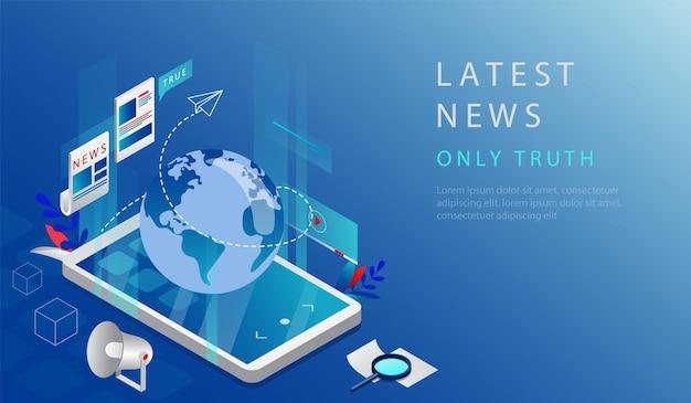 Isometrische 3d-concept van laatste nieuws. website bestemmingspagina. waarachtig laatste wereldnieuws en updates in de wereld. smartphone met bol en infographic. webpagina cartoon vectorillustratie.