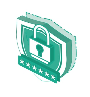 Isometrische 3d cyber security concept
