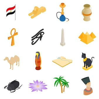 Isometrische 3d die pictogrammen van egypte op witte achtergrond worden geïsoleerd