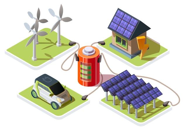 Isometrische 3d elektrische auto en slim huis aangesloten op een batterij