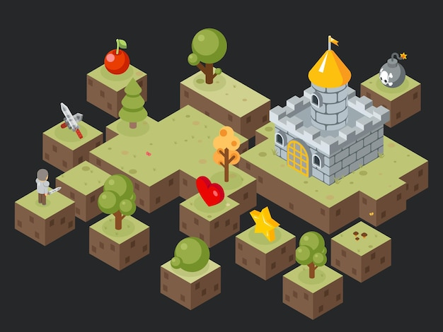 Isometrische 3d-gameplay-scène. isometrisch videogamelandschap