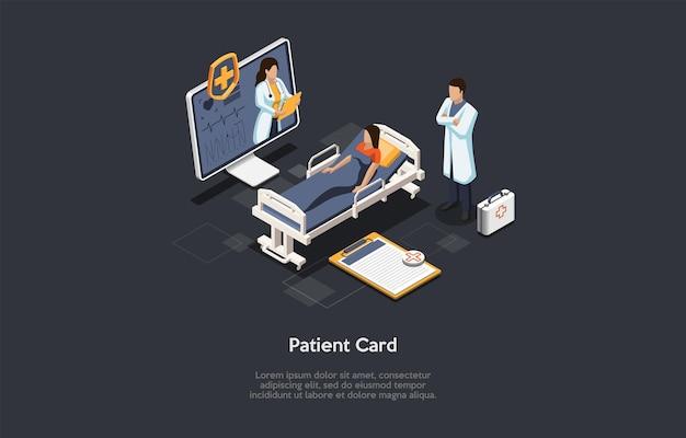 Isometrische 3d illustratie. cartoon stijl vector samenstelling op patiënt persoonlijke medische kaart concept. gegevens over gezondheidszorgdiensten, informatiebank voor privéklinieken. klant, artsen, desktopcomputer.