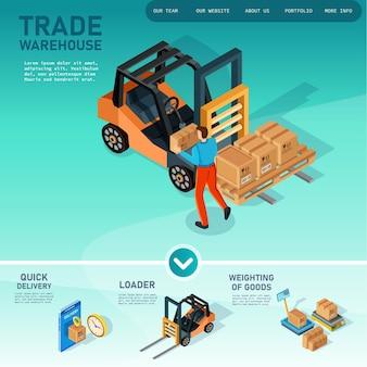 Isometrische 3d illustratie concept set objecten voor creatie magazijn met heftruck en goederen