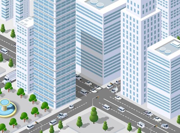 Isometrische 3d-illustratiestad
