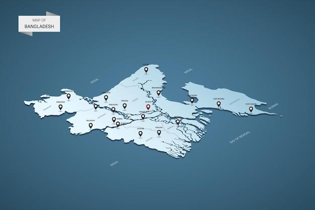 Isometrische 3d-kaart van bangladesh