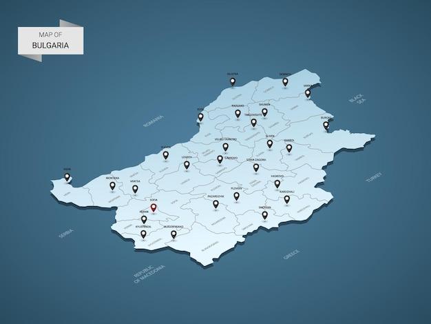 Isometrische 3d-kaart van bulgarije
