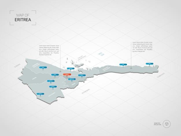 Isometrische 3d-kaart van eritrea.