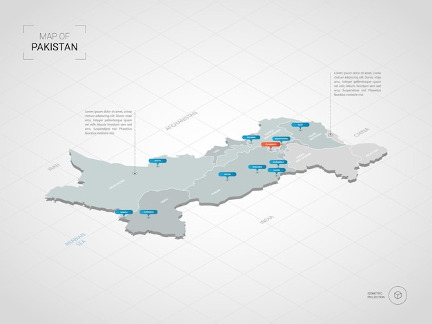 Isometrische 3d-kaart van pakistan.