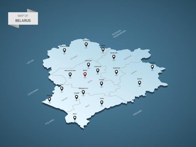 Isometrische 3d-kaart van wit-rusland