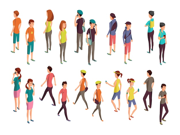 Isometrische 3d mensen. jonge casual personen vector set