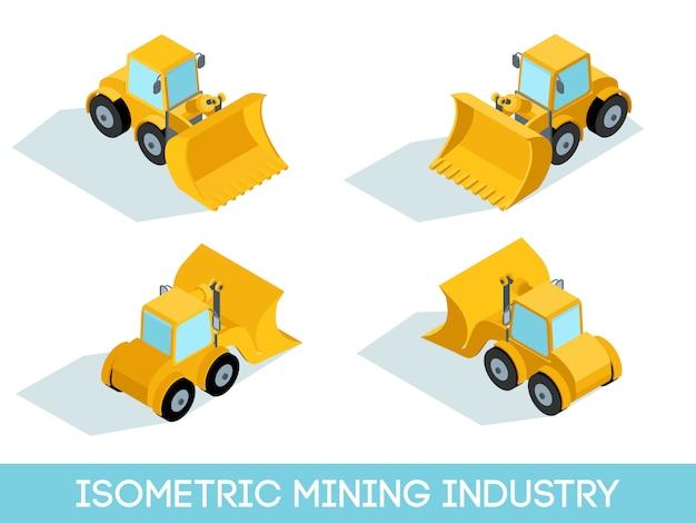 Isometrische 3d mijnbouw set, mijnuitrusting en voertuigen geïsoleerd vectorillustratie
