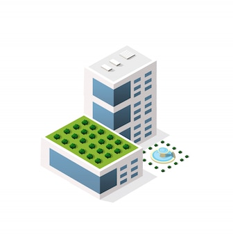 Isometrische 3d-module blok district deel van de stad