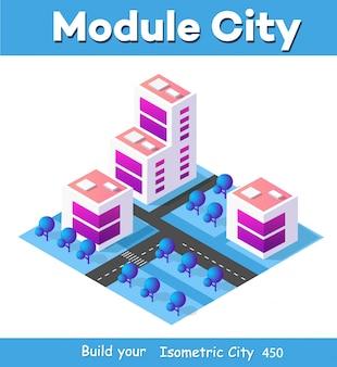 Isometrische 3d-module blok district deel