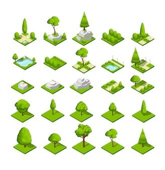 Isometrische 3d-natuurelementen. bos en stadsparkbomen en installaties. kaartafbeeldingen