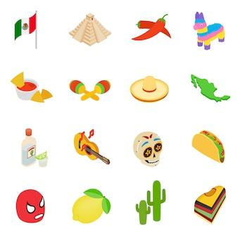 Isometrische 3d pictogrammen van mexico geplaatst die op witte achtergrond worden geïsoleerd