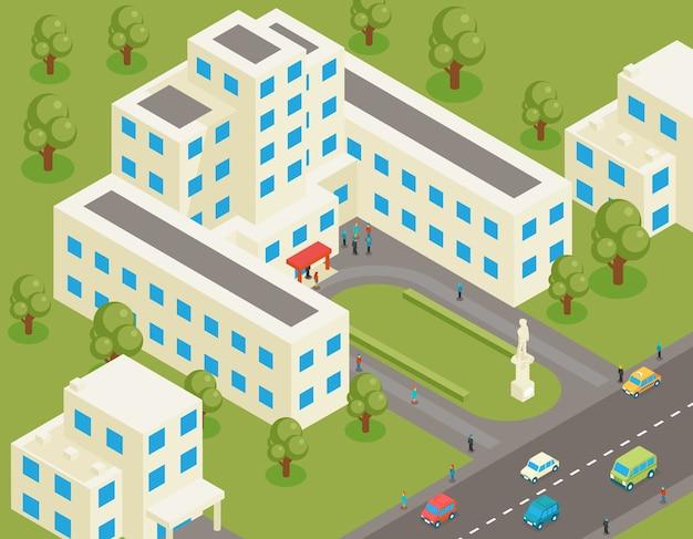 Isometrische 3d platte universiteits- of hogeschoolgebouw. studenten- en architectuurhuis, straat en park, structuur landgoed, boom en weg,
