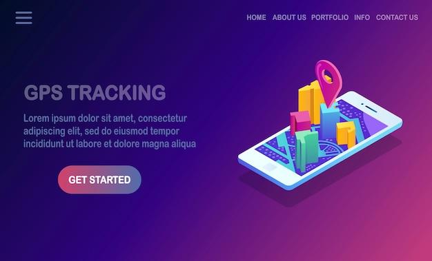 Isometrische 3d-smartphone met gps-navigatie-app, tracking.