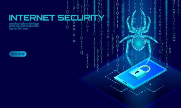 Isometrische 3d spider hacker aanval gevaar. webbeveiliging virus gegevens veiligheid antivirus concept. smartphone lock ontwerp bedrijfsconcept. cybercriminaliteit web insect bug technologie illustratie