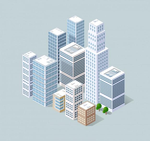 Isometrische 3d-stad driedimensionaal