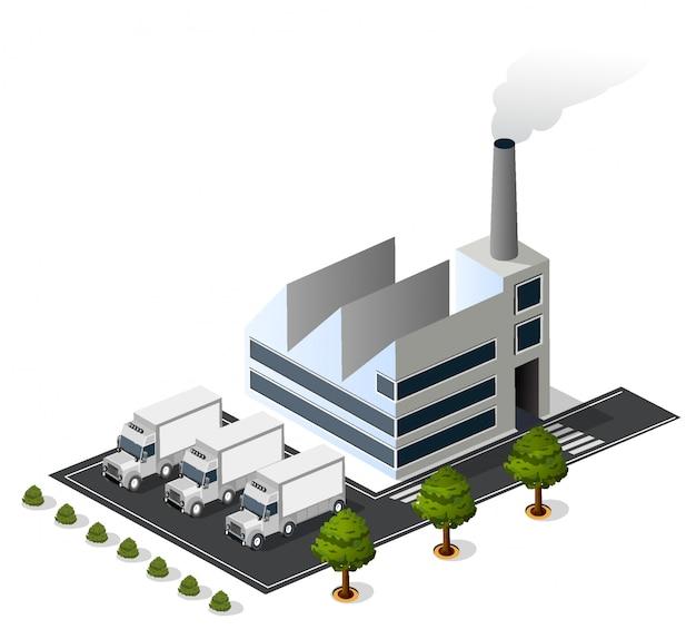 Isometrische 3d-stads stedelijke fabriek