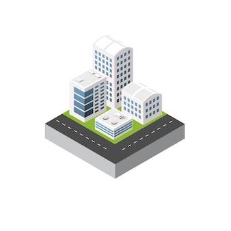 Isometrische 3d stedelijke stadsillustratie