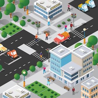 Isometrische 3d-straat in het centrum van het architectuurdistrict van de stad met buitenweggebouwen.