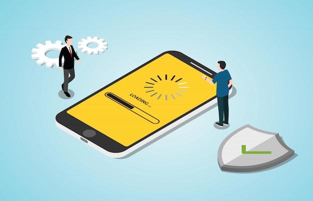 Isometrische 3d-systeem update conceptproces met smartphone apps