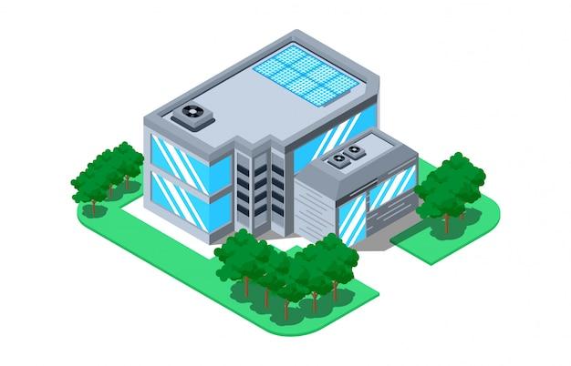Isometrische 3d vectorillustratietoren en zonnepanelen voor alternatieve energie