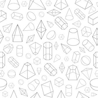 Isometrische 3d-vormen naadloze patroon geometrische wiskunde draadframe objecten piramide prisma bol kegel kubus
