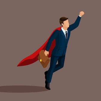 Isometrische 3d-zakenman superman vliegt omhoog, met een koffer in de hand, in een pak met een mantel