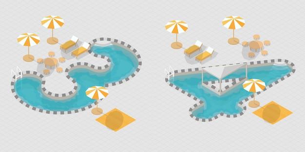 Isometrische 3d-zwembadnummers