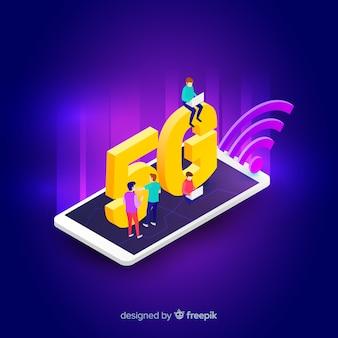 Isometrische 5g concept achtergrond op een mobiele telefoon