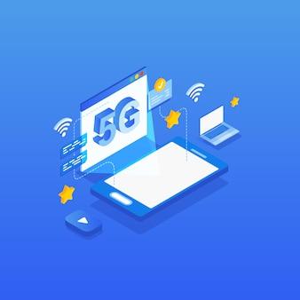 Isometrische 5g-illustratie van de netwerk draadloze technologie.