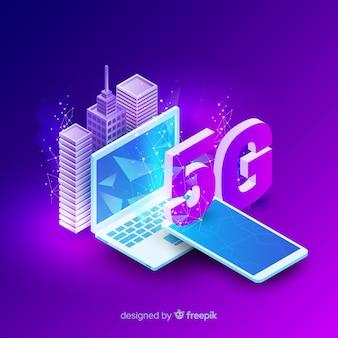 Isometrische 5g netwerk concept achtergrond