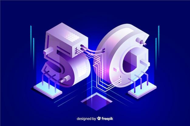 Isometrische 5g nieuwe draadloze internet wifi-verbinding