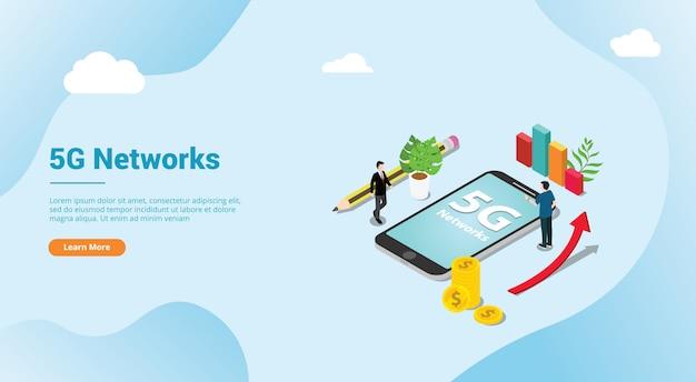 Isometrische 5g nieuwe internetsnelheid super snel voor het landen van een websitesjabloon