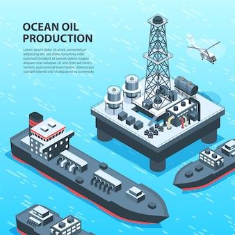Isometrische aardolie-olie-industrie met buiten uitzicht op off-shore petroleumproductie